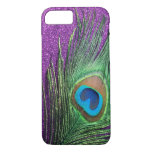 Purple Glittery Peacock Feather Still Life iPhone 7 Case