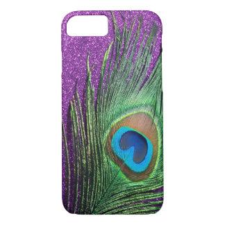 Purple Glittery Peacock Feather Still Life iPhone 7 Case