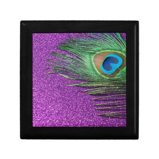 Purple Glittery Peacock Feather Still Life Keepsake Box