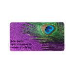 Purple Glittery Peacock Feather Still Life Personalized Address Label