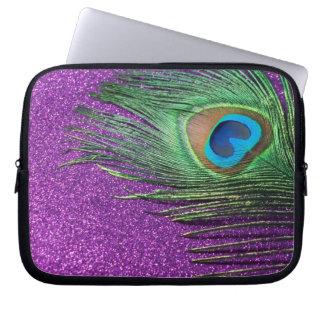 Purple Glittery Peacock Feather Still Life Laptop Sleeve
