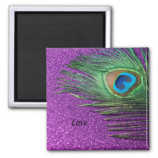 Purple Glittery Peacock Feather Still Life Refrigerator Magnet
