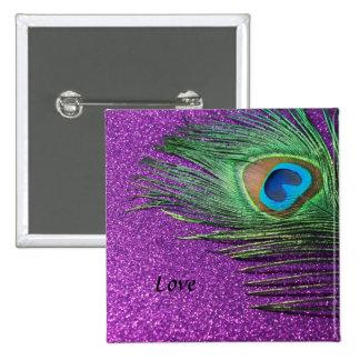 Purple Glittery Peacock Feather Still Life Pinback Button