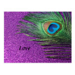 Purple Glittery Peacock Feather Still Life Postcard