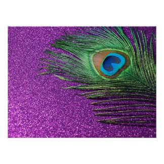 Purple Glittery Peacock Feather Still Life Poster