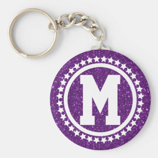 Purple Glitz Super Star Monogrammed Keychain