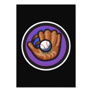 purple glove with ball 5x7 paper invitation card