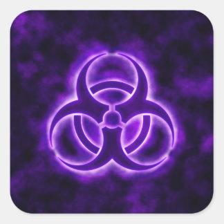 Purple Glow Biohazard Sticker