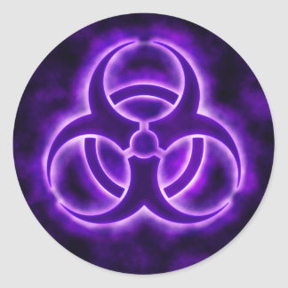 Purple Glow Biohazard Symbol Sticker