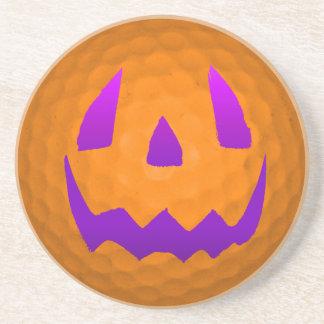 Purple Glow Halloween Golf Ball Drink Coaster
