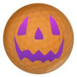 Purple Glow Halloween Golf Ball Melamine Plate