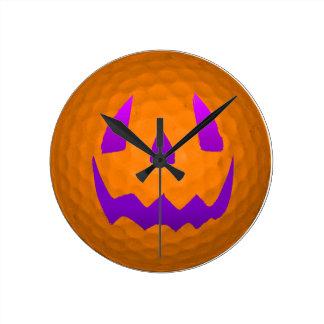 Purple Glow Halloween Golf Ball Round Clock
