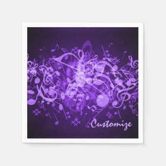 Purple Glow Music Notes Napkins Standard Cocktail Napkin
