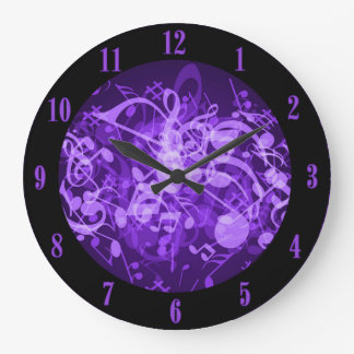 Purple Glow Music Notes Wall Clock