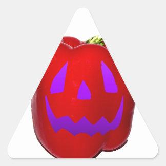 Purple Glow Red Bell Peppolantern Triangle Sticker
