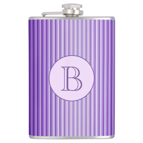 Purple Glow Stripes Chic Pattern Custom Monogram Flask