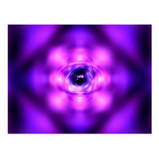 Purple glowing atom postcard