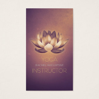 Purple Glowing Lotus and OM Symbol Yoga Instructor Business Card