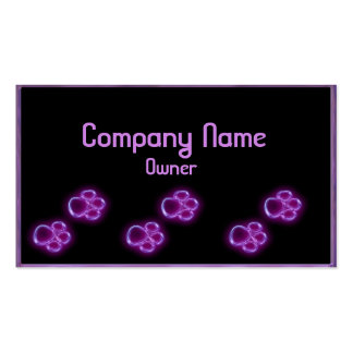 Purple glowing pet paws business card