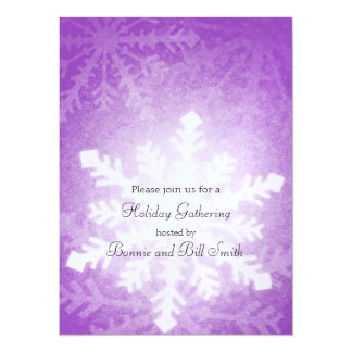 Purple Glowing Snowflake Holiday Gathering Card