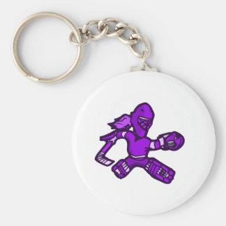 Purple Goalie Girl Basic Round Button Keychain