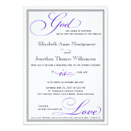 Purple God is Love Christian Wedding Invitation