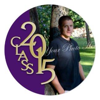 """Purple Gold 2015 Photo Graduation Invitation 5.25"""" Square Invitation Card"""