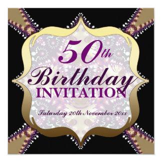 "Purple+Gold 50th Birthday Celebrations 5.25"" Square Invitation Card"