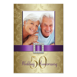 Purple Gold 50th Wedding Anniversary Invitation