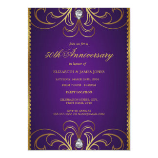 Purple and gold wedding invitations announcements zazzle purple amp gold 50th wedding anniversary invitation junglespirit Image collections