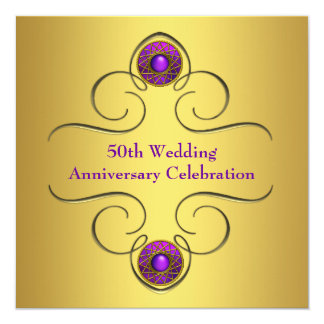Purple Gold 50th Wedding Anniversary Party Card