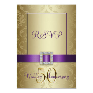 Purple Gold 50th Wedding Anniversary RSVP Card Personalized Invites