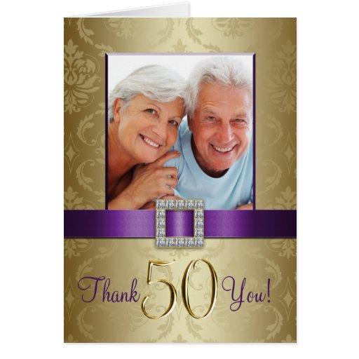 Purple gold th wedding anniversary thank you card zazzle