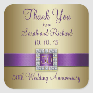 Purple Gold 50th Wedding Anniversary Thank You Square Sticker
