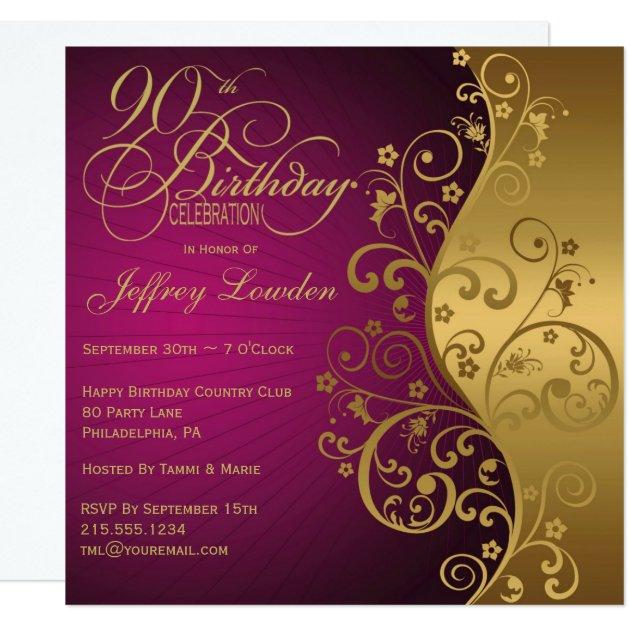 Purple & Gold 90th Birthday Party Invitation | Zazzle