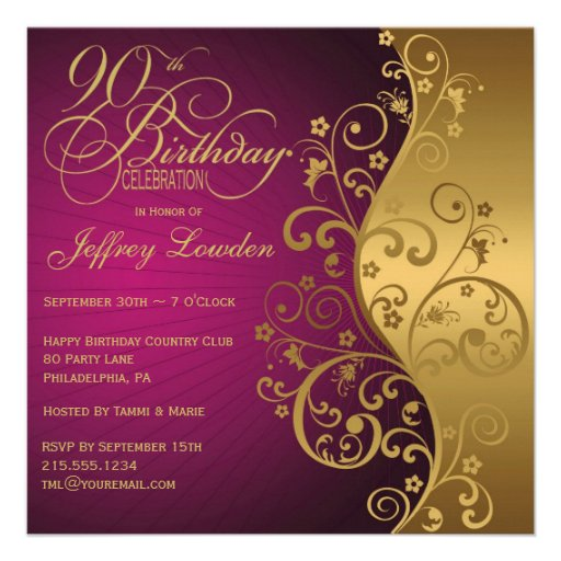 Purple & Gold 90th Birthday Party Invitation (front side)