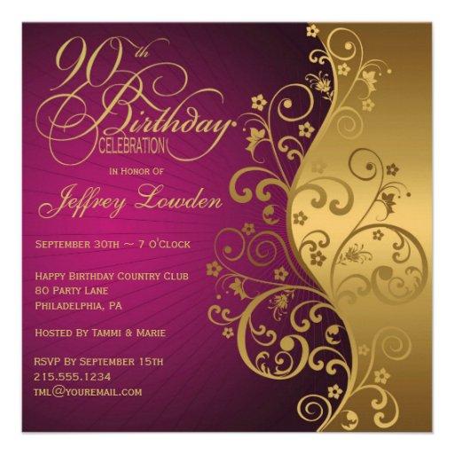 Purple & Gold 90th Birthday Party Invitation