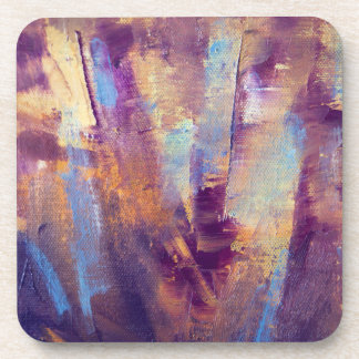 Purple & Gold Abstract Oil Painting Metallic Beverage Coaster
