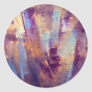 Purple & Gold Abstract Oil Painting Metallic Classic Round Sticker