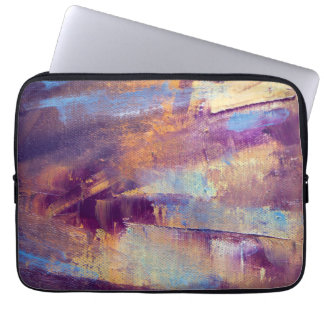 Purple & Gold Abstract Oil Painting Metallic Computer Sleeve