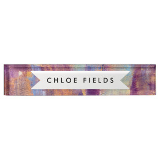 Purple & Gold Abstract Oil Painting Metallic Desk Name Plate
