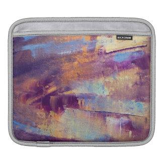 Purple & Gold Abstract Oil Painting Metallic iPad Sleeves