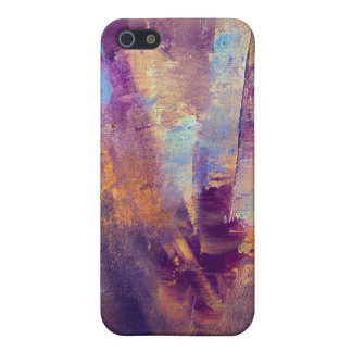 Purple & Gold Abstract Oil Painting Metallic iPhone SE/5/5s Case