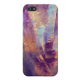 Purple & Gold Abstract Oil Painting Metallic iPhone SE/5/5s Cover
