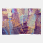 Purple & Gold Abstract Oil Painting Metallic Towels