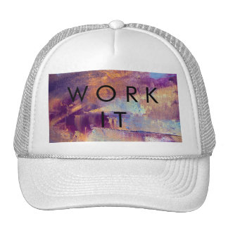Purple & Gold Abstract Oil Painting Metallic Trucker Hat