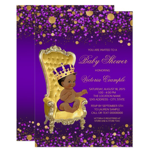 purple gold african american prince baby shower card | zazzle, Baby shower invitations