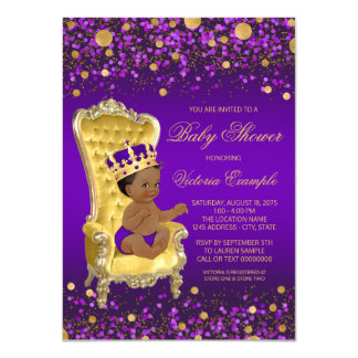 Purple Gold African American Prince Baby Shower Card