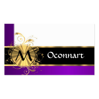 Purple gold and black monogram business cards