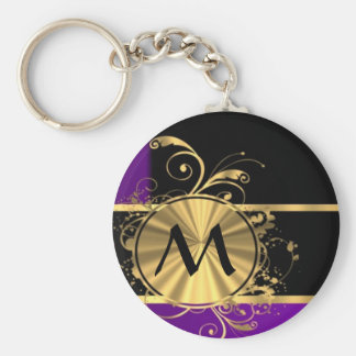 Purple gold and black monogram keychain